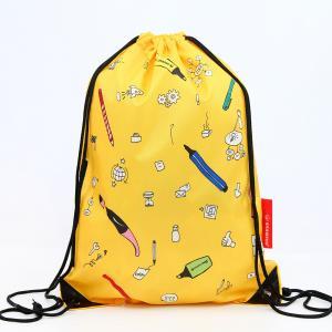 China Full Color Printed Yellow 210D Nylon Sports Drawstring Bag on sale