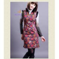 2012 Fashion Improved Sleeveless Cotton Cheongsam/Chinese Party Dress With Fur Collar/Tang Suit