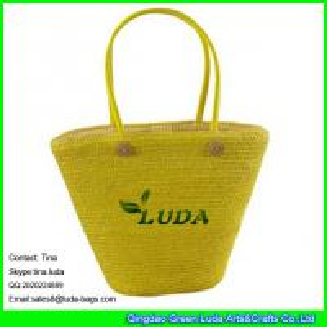 China LUDA online buy straw handbag beaded wheat straw handmade bag on sale