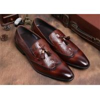 China Brogue Wingtips Toe Mens Slip On Tassel Shoes , Male Formal Shoes For Suits wholesale