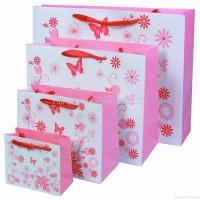 China Wholesale Boutique Paper Bags, Gift Bags, Paper bags with silk ribbon handle wholesale