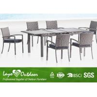 China 6 Chair Patio Furniture Dining Sets Rattan Extension Table Colorful Collocations wholesale