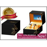 China Black flower printed Gift Jewellery Boxes, square packaging earrings box with video for earrings wholesale