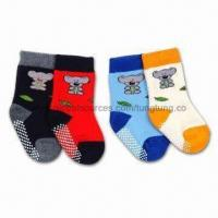 China 100% Cotton Bear Kids Socks with Terry and Non-slip Features wholesale