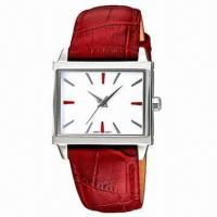China Fashionable Leather Watch with Square Alloy Case and Leather Strap Life Waterproof, Japan Movement wholesale