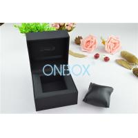 China Single Men'S Watch Display Luxury Watch Box Fine Black Touch Paper With Soft Pillow wholesale
