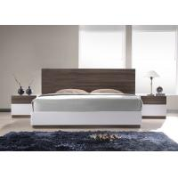 Quality E1 Panel bedroom set / White High Gloss Bedroom Furniutre with Walnut Melamine for sale