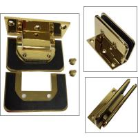 China Gold plated shower hinge with C hole glass cut to cut--Similar Dorma style on sale