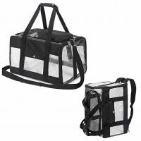 China Safety Locked Zipper Airplane Dog Carrier Under Seat Pet Carrier Tote Black Color on sale