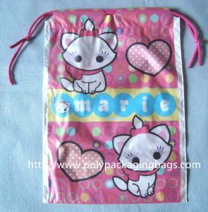 China Waterproof Plastic Drawstring Bag , Drawstring Plastic Bag For Wet Towel / Sanitary Towel wholesale