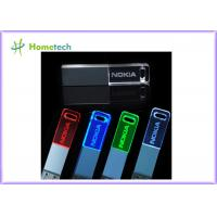 China 3D customized logo crystal glass 8gb usb flash drive 2.0 to 3.0 with led light wholesale
