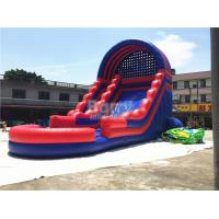 China Summer Kids / Adult Inflatable Water Slides With Blower Blue And Red wholesale