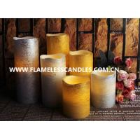 China Gold / Silver Distressed Finish Flameless LED Pillar Candles With Real Wax 10 - 15cm wholesale