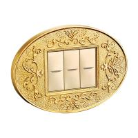 China Forged Brass 3 Gang One Way Wall Switch With Classic Patterns And LED Indicator wholesale