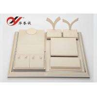 China Beige PU Leather Jewellery Props Display , Simple Design Jewelry Display Sets wholesale