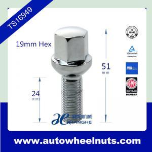 China 14 mm * 1.5 Car Hub Wheel Lug Bolts Zinc Plated ,19mm  hex / 51mm Total Length wholesale