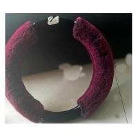 China Plush Fuzzy Car Steering Wheel Covers Wine Red / Purple / Deep Grey Color wholesale