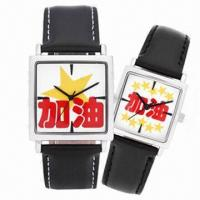 China Couple Watch Gift Set with Alloy Case and Leather Strap, Miyota 2035 Movement wholesale