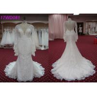 China Modest Soft Lace Mermaid Style Wedding Dress With Long Sleeves Appliqued Decor wholesale