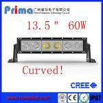 "China 13.5"" 60W Curved Cree Led Light bar-Single Row Led Light Bar wholesale"