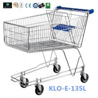China 4 Wheeled 135L Metal Wire UK Shopping Cart With Baby Seat / Supermarket Equipment wholesale