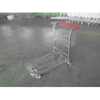 China Cargo Warehouse Trolley 4 Swivel flat casters with Platfrom and foldable baskets wholesale