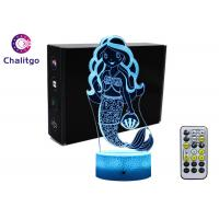 China Mermaid 3D Night Light Table Lamp , Glass Illusions Lamps For Girls Decoration wholesale