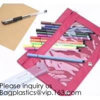 China Stationery products Pencil Pouch Pvc Portable Pencil Case For Students,3 Ring Binder Zippered Pencil Pouches with Clear wholesale