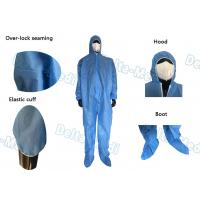 China Hooded Blue Disposable Coveralls , Sterile Sms Disposable Chemical Coveralls wholesale