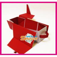 China Red Folding Mahogany / Cardboard / Rigid Paper Board Wine Bottle Packaging Box, UV Printing wholesale