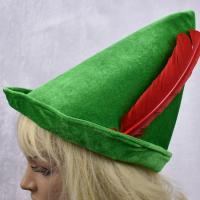 China Oktoberfest green Peter pan hat red feather party hat 58-60cm velvet fabric green color wholesale