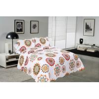 China Sun Flower Pattern Printed Quilt Set Needle Punched Cotton Bedspread And Coverlet wholesale