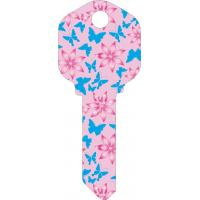 China Butterfly Designs Printed House Key Blanks Full Color Painted KW1 and SC1 Key Blanks on sale