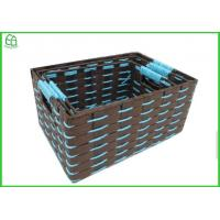 China Rope woven box, 100% handwoven S/3 rectangle home storage basket with paper material wholesale