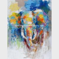 Buy cheap Abstract Colorful Elephant Painting On Canvas / Animal Print Canvas Wall Art from wholesalers