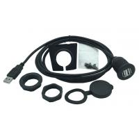 China Black Color Dual USB Female Extension Cable Kit High Speed For Boat , Motorcycle wholesale