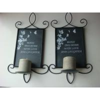 China Square Slate Wrought Iron Wall Sconces Candle Holders With Pillar Candle wholesale