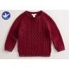 China Multi Cable Knitting Girls Long Sleeve Sweaters , Girls Red SweaterSide Slit wholesale