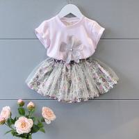 China 2016 Fashion Kid's Purple Summer Prince Style Top+Cute Lace Floral Shorts Skirt 2 PCS wholesale