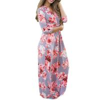 Casual 3 4 Sleeves Summer Floral Maxi Dresses , Petite Length Maxi Dresses For