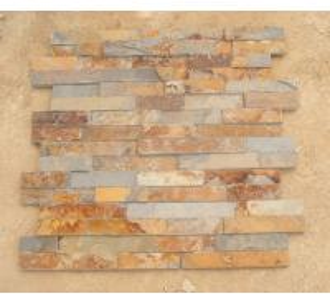 China Rusty Slate 3D Ledgestone Multicolor Slate Fireplace Stone Cladding Natural Thin Stone Veneer wholesale