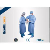 China Water Resistant Disposable Surgical Gowns SMS Standard Medical Blue With Knitted Cuff wholesale