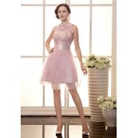 China Sexy Lace Beaded Girls Tulle Celebrities Evening Dresses for Cocktail Party , Knee Length wholesale
