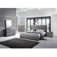 China Modern Strong Structure Flat Pack Bedroom Furniture With Grey High Gloss Bedside Cabinet  wholesale