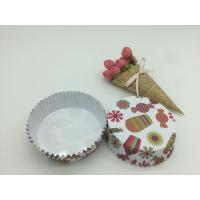 China Round Shape Paper Baking Cups PET Coated Film Candy / Flower Pattern Cupcake Liners wholesale