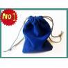 China Smart Blue Velvet Drawstring Bag Silk Screen Printing , Eco-Friendly Velvet Fabric wholesale