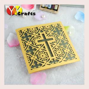 China Cross laser cut wedding invitation card /wedding table card purple color folded wedding invitation cards wholesale