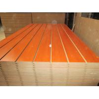 China Melamine Faced Grooved Slotted MDF Board with Wooden Grain , Red , Green Customized Color wholesale