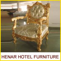 China Luxury Commercial Hotel Furniture Golden Wood King Throne Chair for Lobby wholesale
