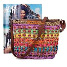 China Fashion Women Straw Bag Weaving Bucket Style Travel Beach Shoulder Bags Charming Rainbow wholesale